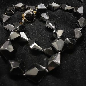 Black Vintage Faceted Bead Necklace